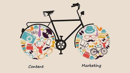 bicicletta stilizzata che raffigura gli elementi fondamentali del content marketing