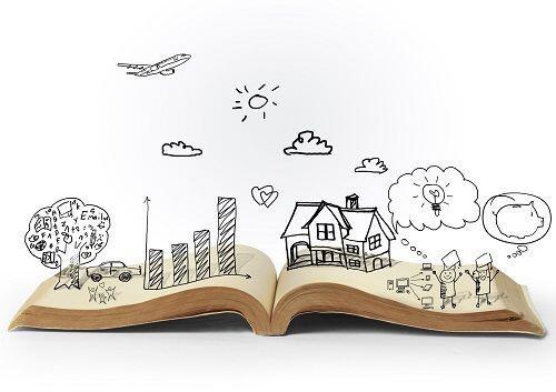 libro aperto con rappresentazione grafica di storie