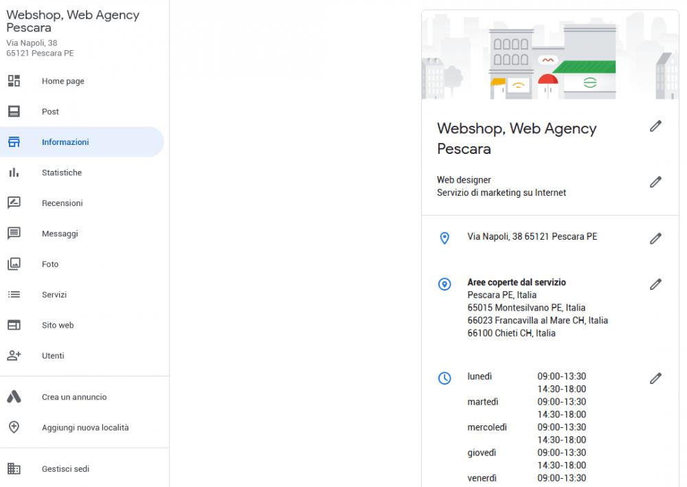 Pannello di amministrazione di Google My Business